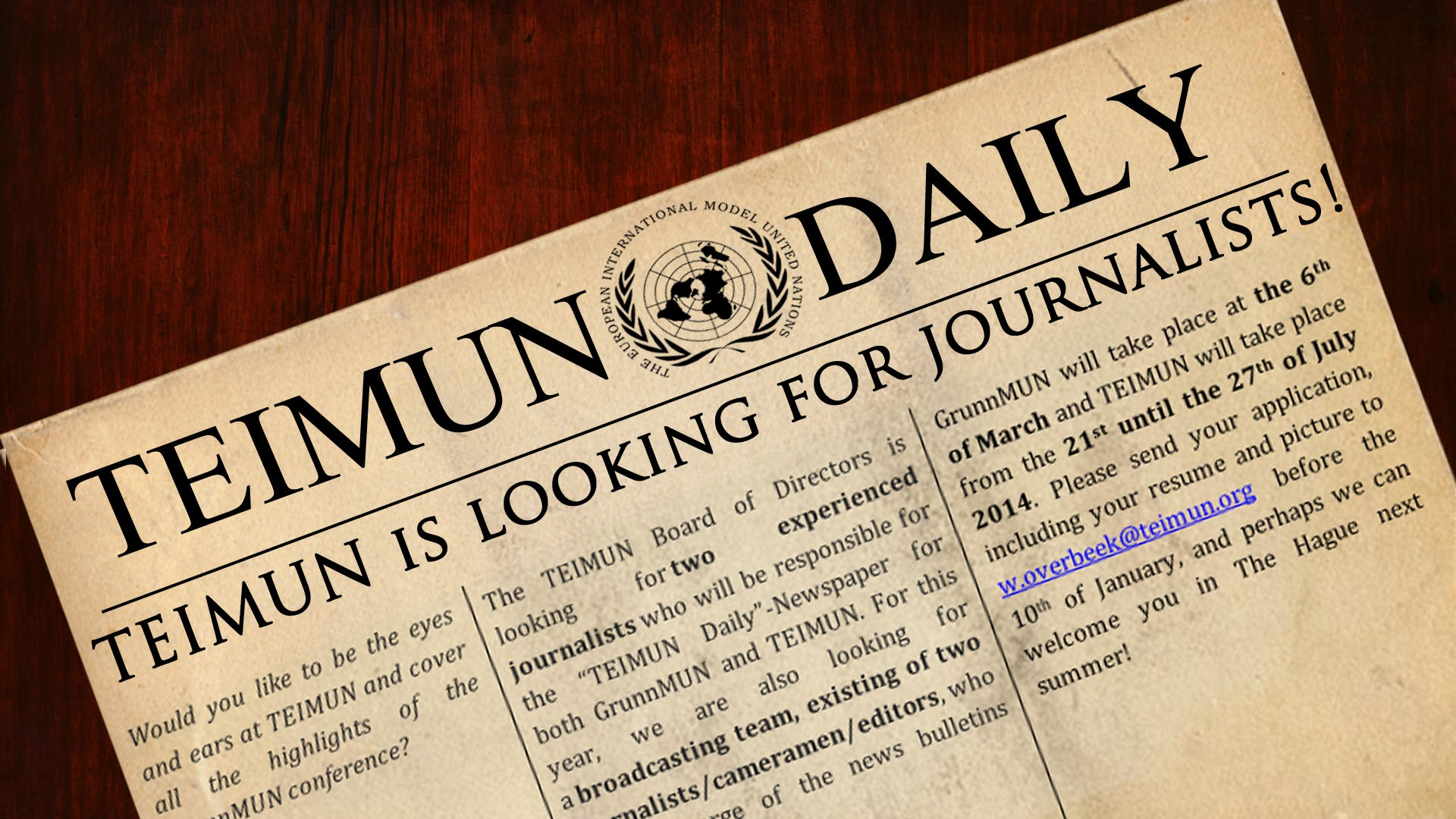 TEIMUN is looking for journalists!